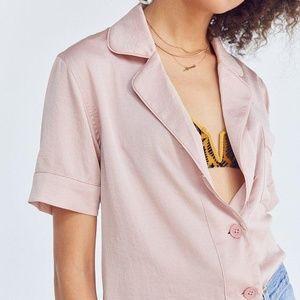 UO Cooperative Pink Shiny Short Sleeve Pajama Top